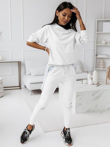 Komplet dresowy spodnie + bluza ZIPPER - biały