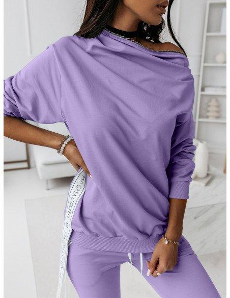 Komplet dresowy spodnie + bluza ZIPPER - liliowy