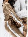 Welurowy komplet bluza+spodnie WALIA - złoty