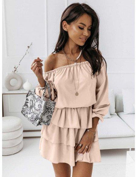 Rozkloszowana sukienka z falbanami ROMANTIC - jasny beż