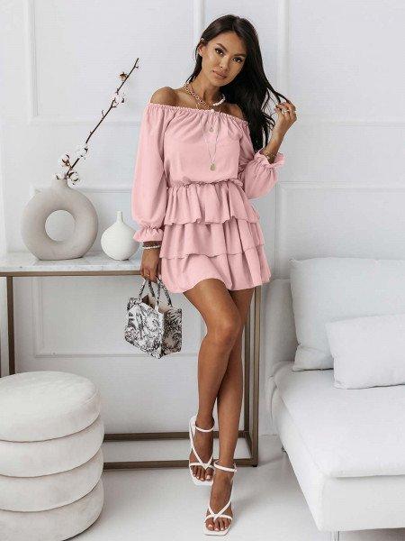 Rozkloszowana sukienka z falbanami ROMANTIC - pudrowy róż