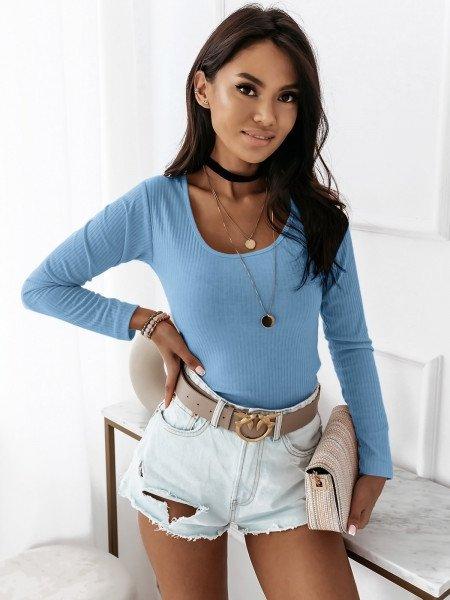 Prążkowana bluzka z okrągłym dekoltem GINETTE  - błękitny