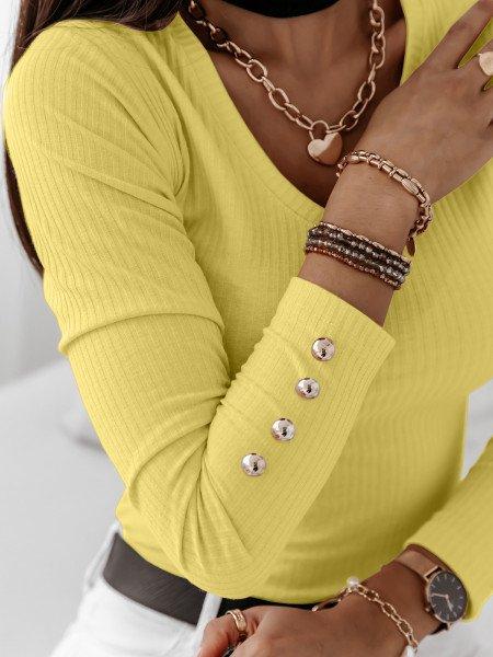 Dopasowana prążkowana bluzka ISSANA - cytrynowa