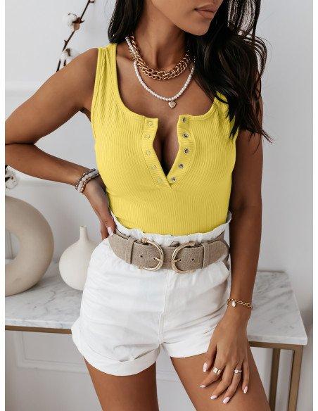 Prążkowana bluzka bez rękawów MIRIAM - cytrynowa