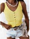 Prążkowany top bluzka z guzikami - PINA - cytrynowa