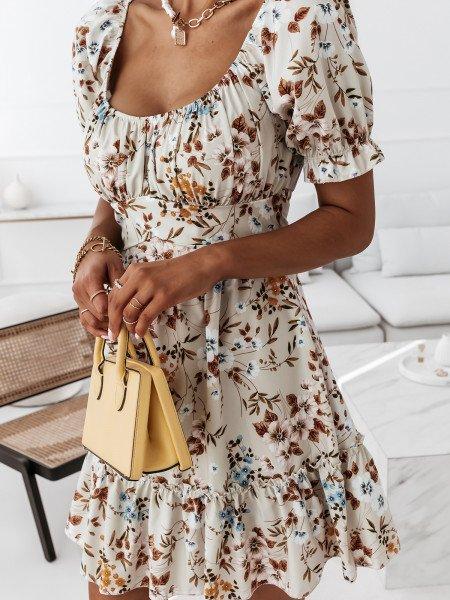 Sukienka w kwiatowy print - MILANO - beżowa
