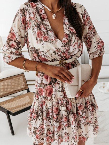 Szyfonowa sukienka w kwiatowy print - RIO - beżowa