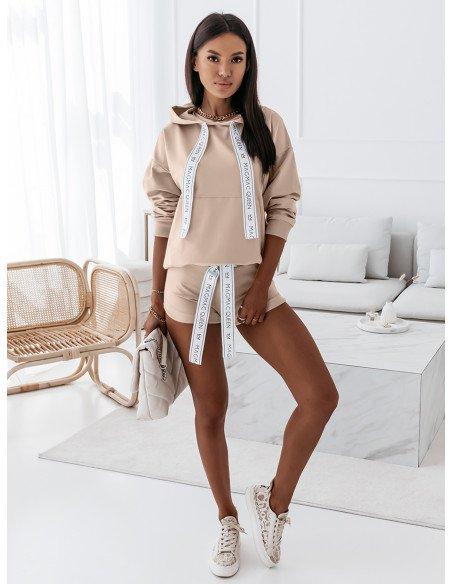 Komplet dresowy bluza + szorty - SUMMER QUEEN - jasny beżowy