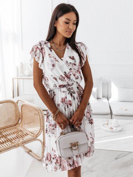 Sukienka w kwiatowy print - CELEBRATION - biała