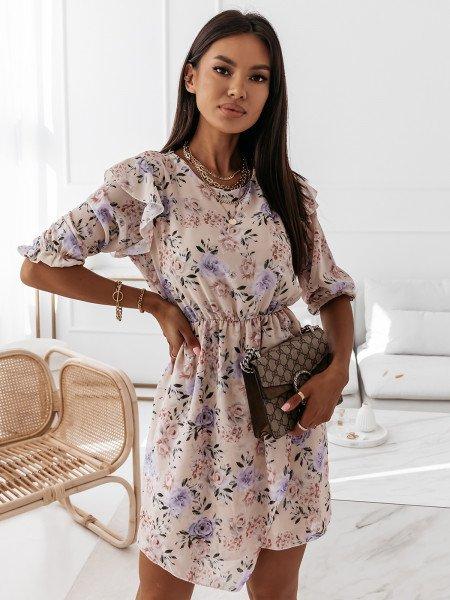 Asymetryczna sukienka w print - LILLA - beżowa
