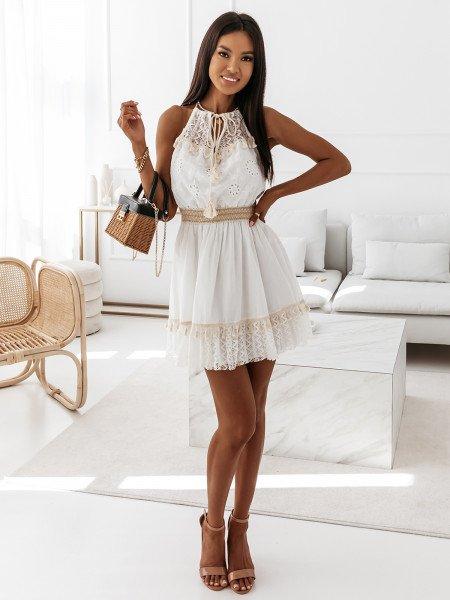 Boho sukienka z koronką - ESPANIA - biała