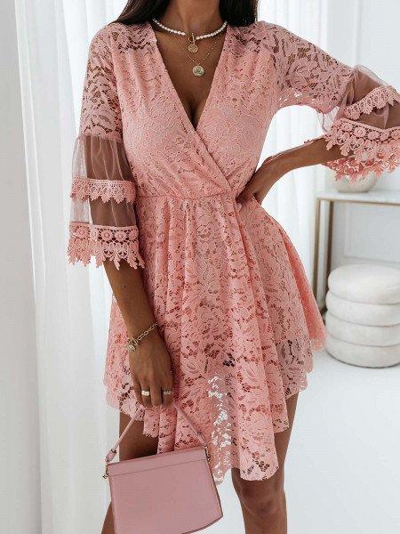 Koronkowa sukienka boho OPHELIA - pudrowy róż