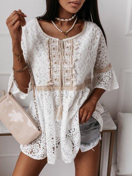 Oversizowa bluzka w stylu boho SUNNY - biała