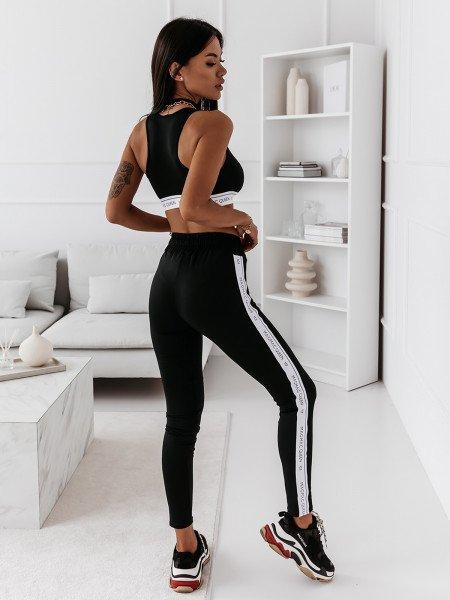Klasyczne legginsy z lampasem MALIBU - czarne