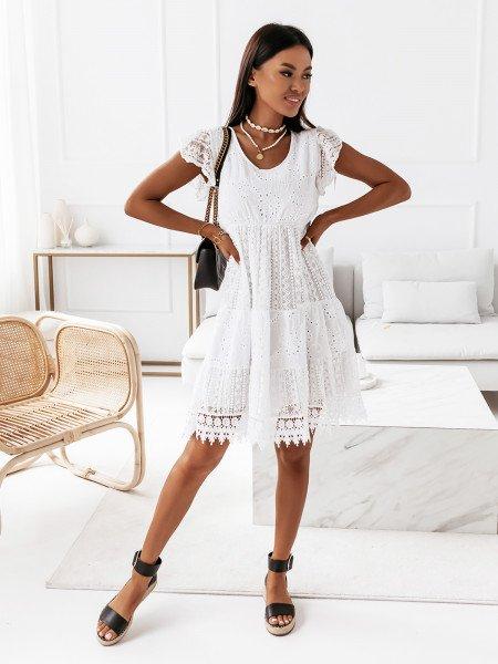 Sukienka boso z koronką - TANGO - biała