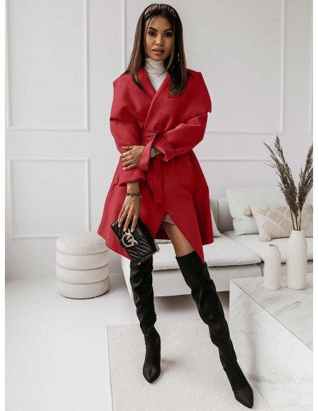 Flauszowy płaszcz CAMILLE - czerwony