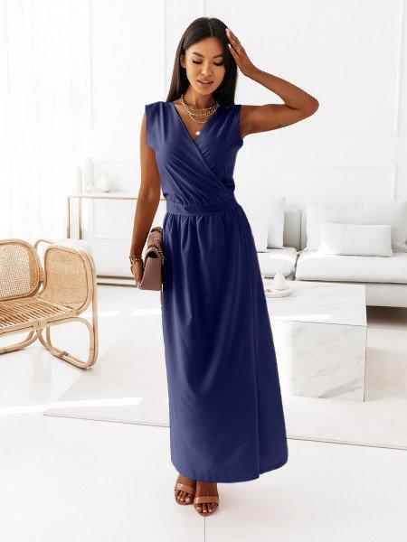 Maxi grecka sukienka kopertowa PATI - granat