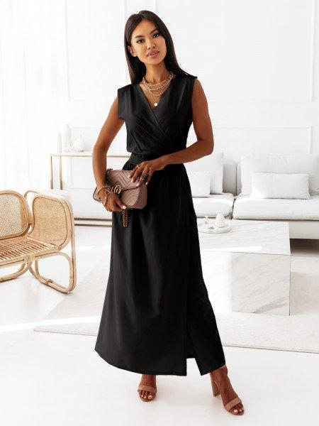 Maxi grecka sukienka kopertowa PATI - czarna