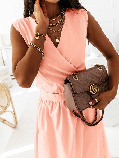Maxi grecka sukienka kopertowa PATI - pudrowy róż