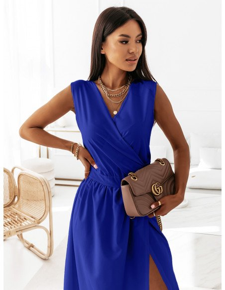 Maxi grecka sukienka kopertowa PATI - chabrowa