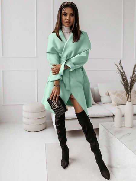 Flauszowy płaszcz CAMILLE - miętowy