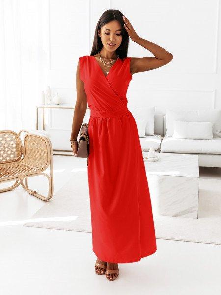 Maxi grecka sukienka kopertowa PATI - czerwona