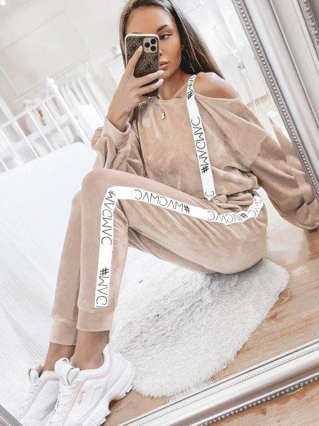 Welurowy dres z lampasem SARAH - beżowy