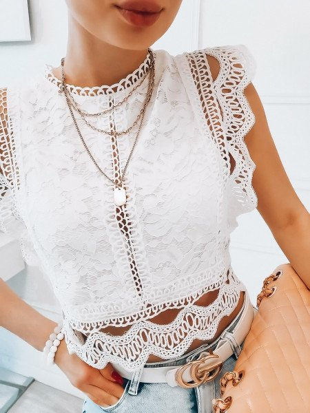 Koronkowy top bluzka - AIKO - biała