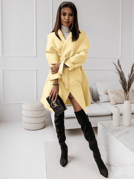 Flauszowy płaszcz CAMILLE - cytrynowy