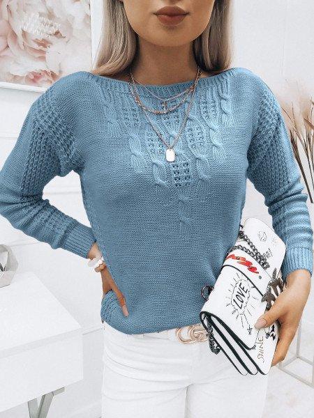 Pleciony sweter z dekoltem...