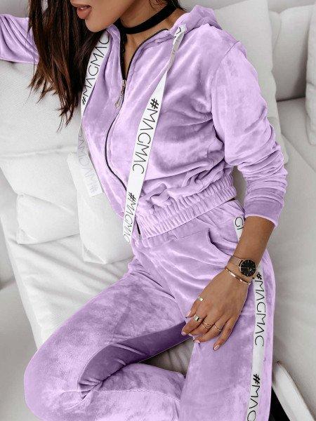 Welurowy dres spodnie + QUEEN STYLE - liliowy
