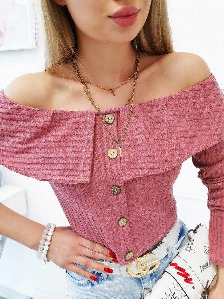 Bluzka hiszpanka z ozdobnymi guzikami - BIBI - pudrowy róż
