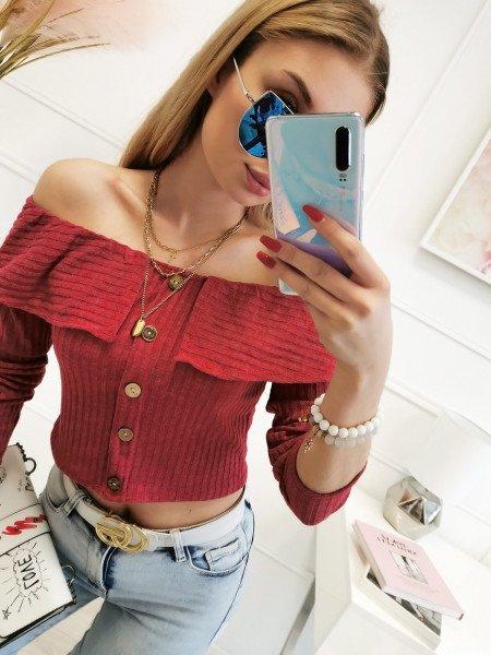 Bluzka hiszpanka z ozdobnymi guzikami - BIBI - czerwona