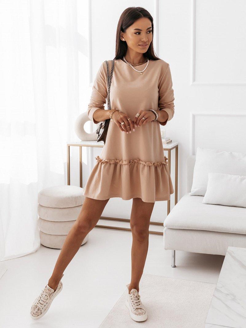 Trapezowa sukienka mini z falbaną...