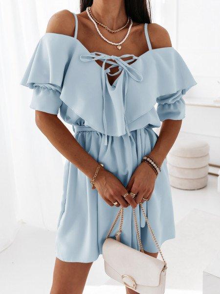 Sukienka na ramiączkach z falbanką MARITTA - błękitna