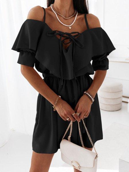Sukienka na ramiączkach z falbanką MARITTA - czarna