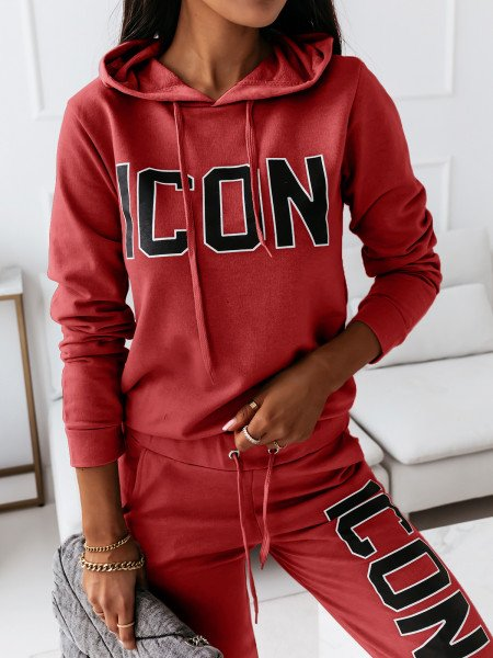 Komplet dresowy z napisem ICON - czerwony