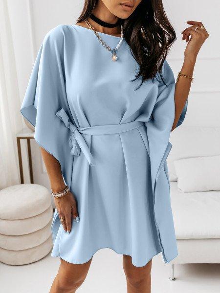 Kobieca sukienka nietoperz CANDICE - błękitna