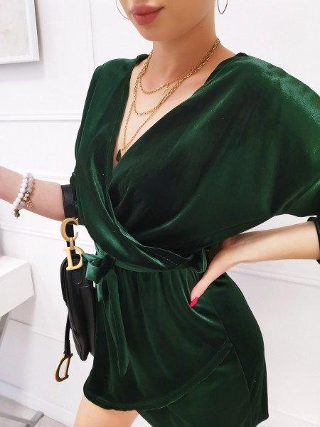 Welurowa sukienka z zakładanym dekoltem - RAJA - butelkowa zieleń