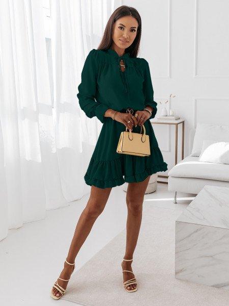Sukienka z falbanami CARLA - butelkowa zieleń