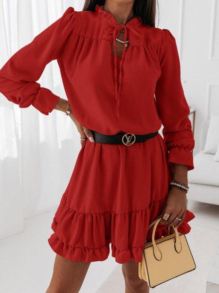 Sukienka z falbanami CARLA - czerwona