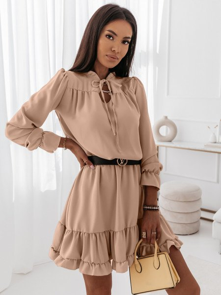 Sukienka z falbanami CARLA - beżowa