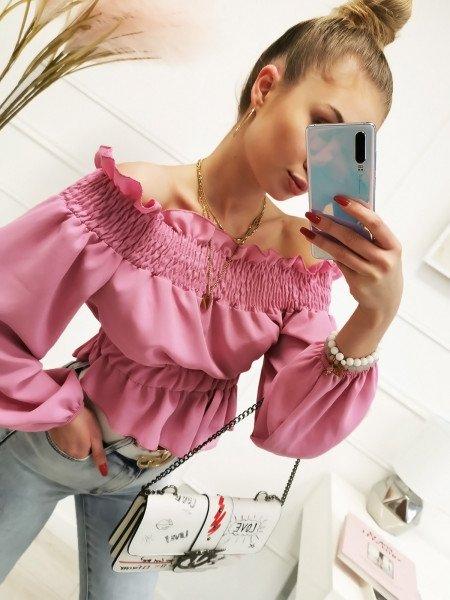 Bluzka hiszpanka z odkrytymi plecami - CRUZ - pudrowy róż