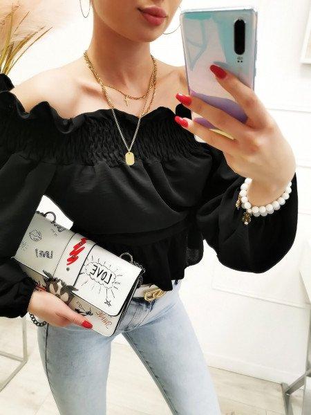 Bluzka hiszpanka z odkrytymi plecami - CRUZ - czarna