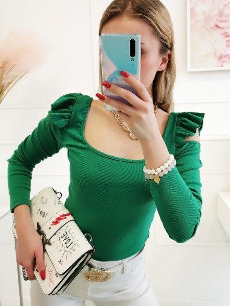Bluzka z falbanką na ramionach - MINO - butelkowa zieleń