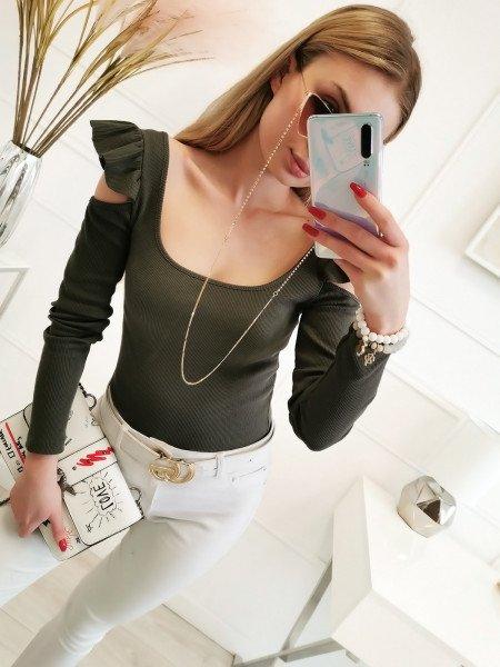 Bluzka z falbanką na ramionach - MINO - khaki
