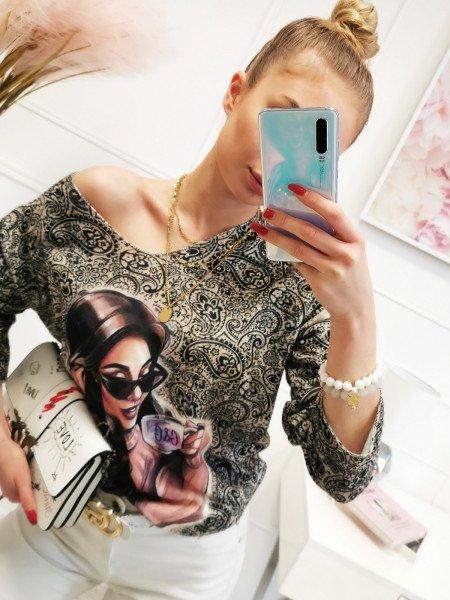 Sweter bluzka oversize z nadrukiem - LETA - beżowa