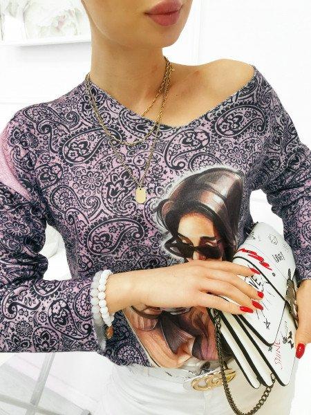 Sweter bluzka oversize z nadrukiem - LETA - pudrowy róż