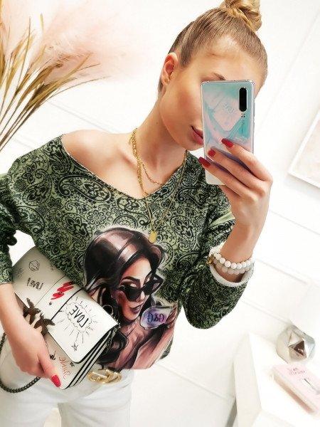 Sweter bluzka oversize z nadrukiem - LETA - miętowa