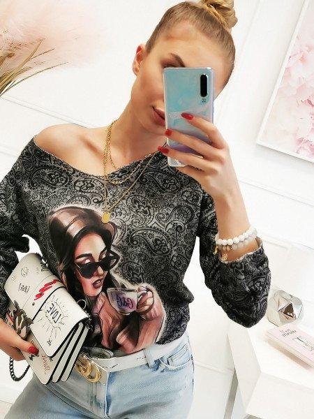Sweter bluzka oversize z nadrukiem - LETA - szara